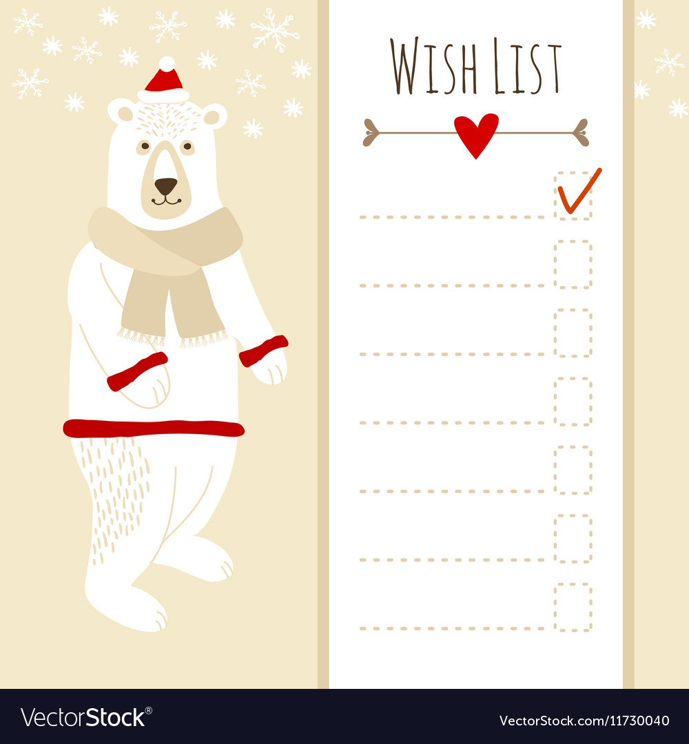 Cute christmas cardbaby shower wish list with vector