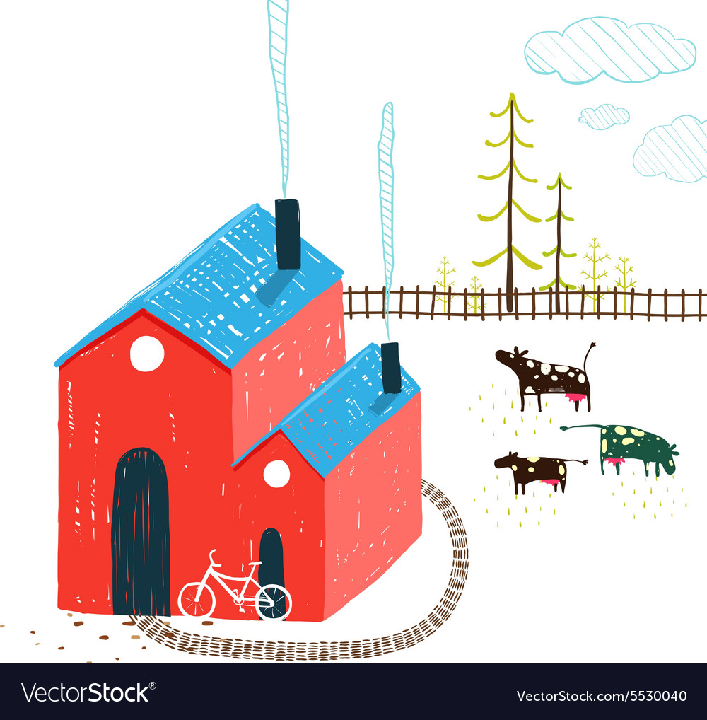 Little village house rural landscape with forest vector