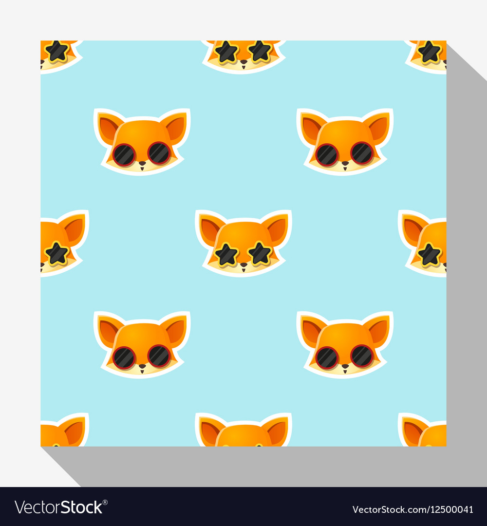 Animal seamless pattern collection with fox 1 vector