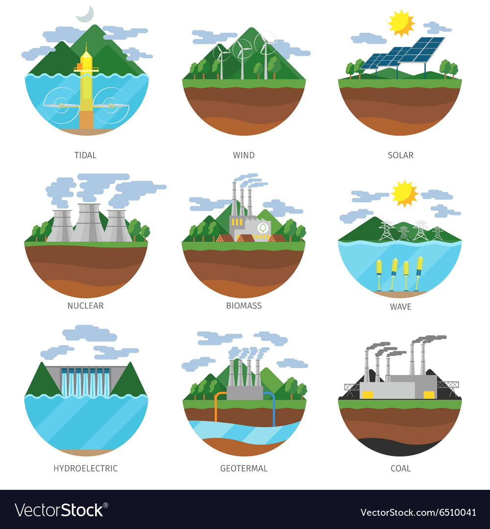 Generation energy types power plant icons vector