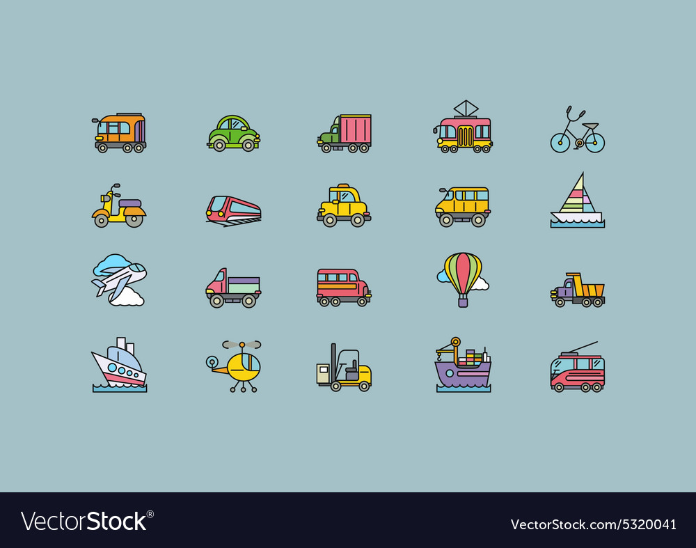 Kinds of transport set colorful outline icons vector