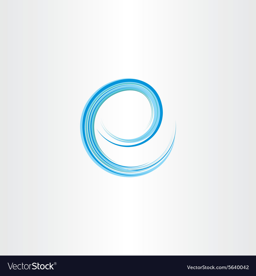Blue letter e water wave icon logo vector