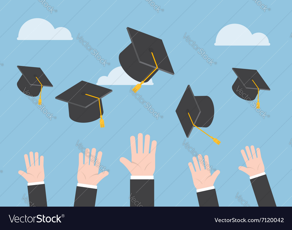 Businessman hands throwing graduation hat in the a vector