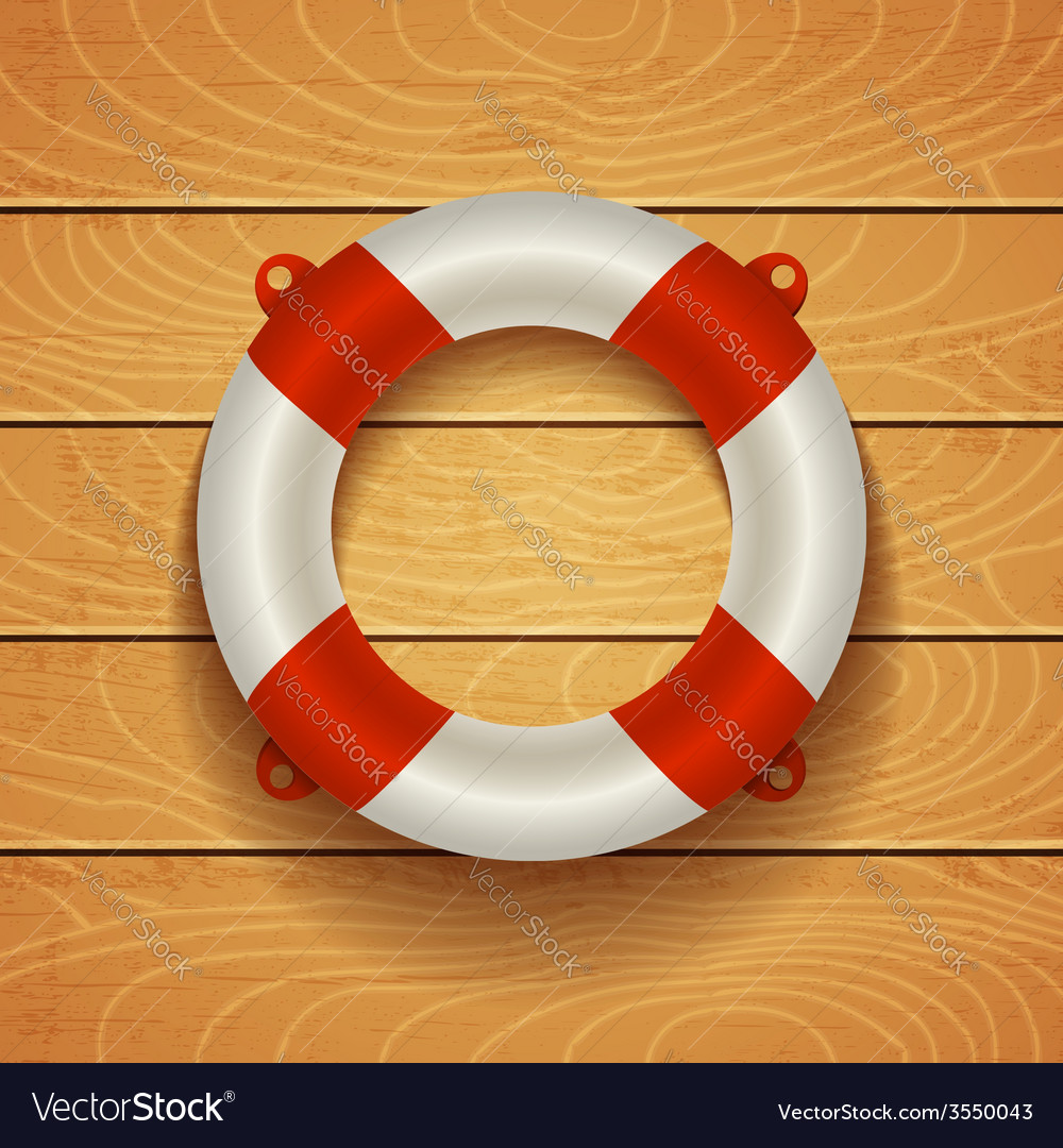 Lifebuoy on light wooden bacground vector