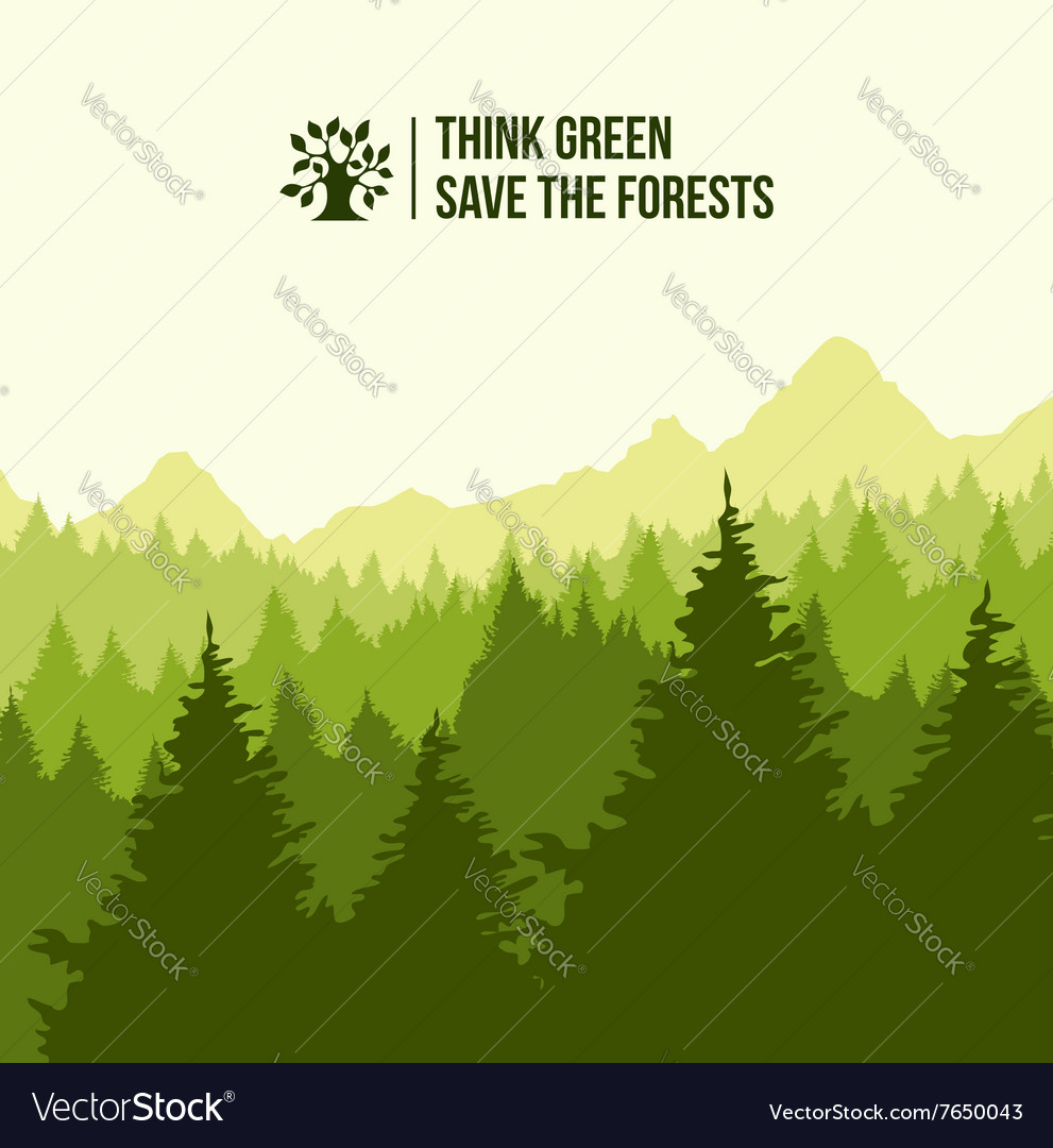 Tree landscape think green concept vector