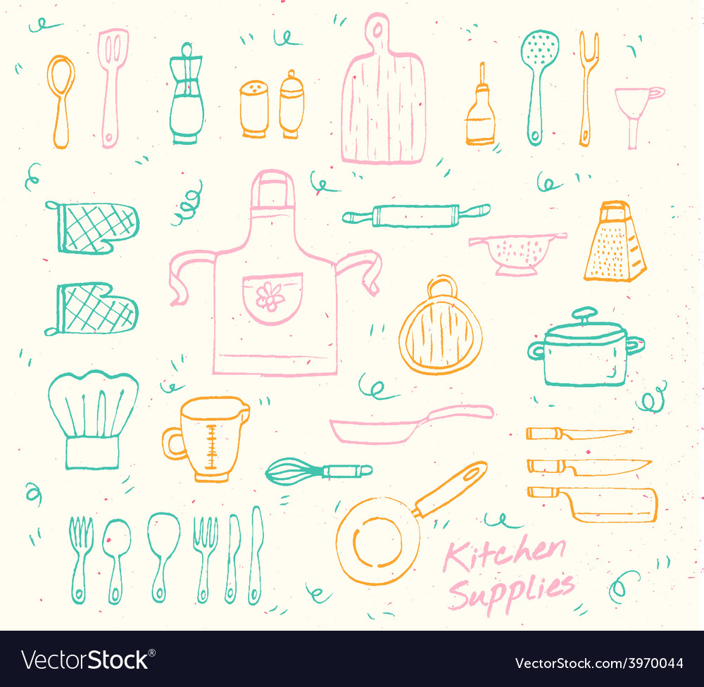 Kitchen supplies sketch set vector