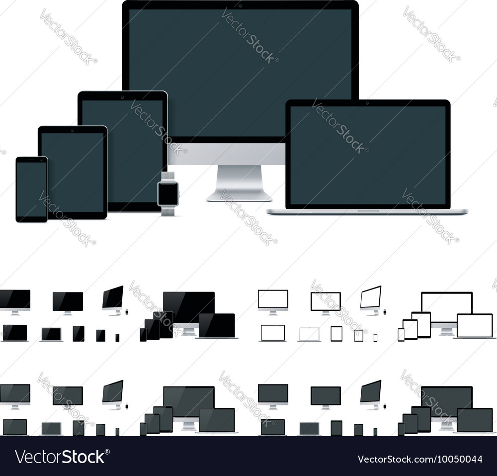 Realistic laptop desktop computer mobile vector