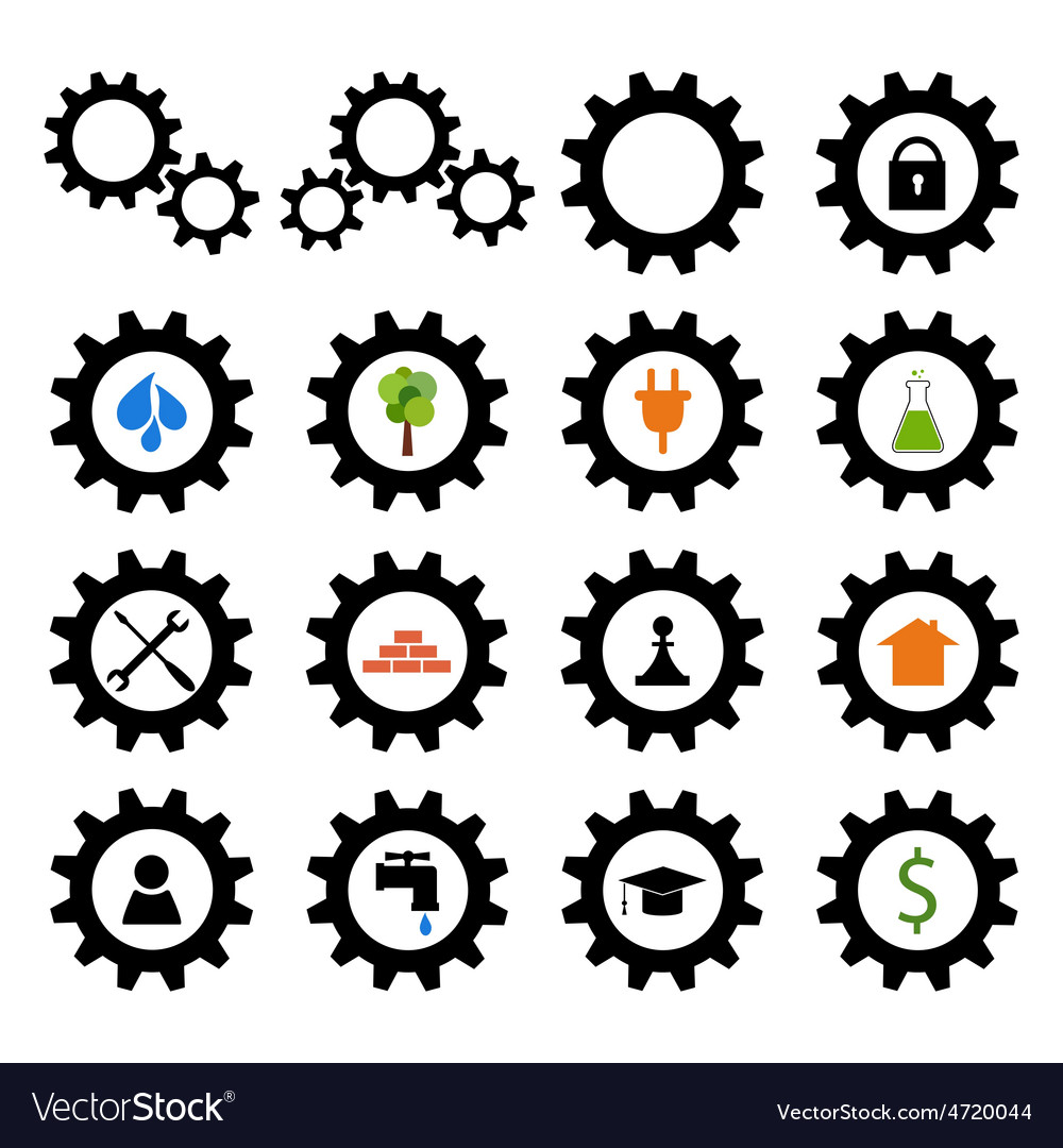 Set of gear wheel logos vector