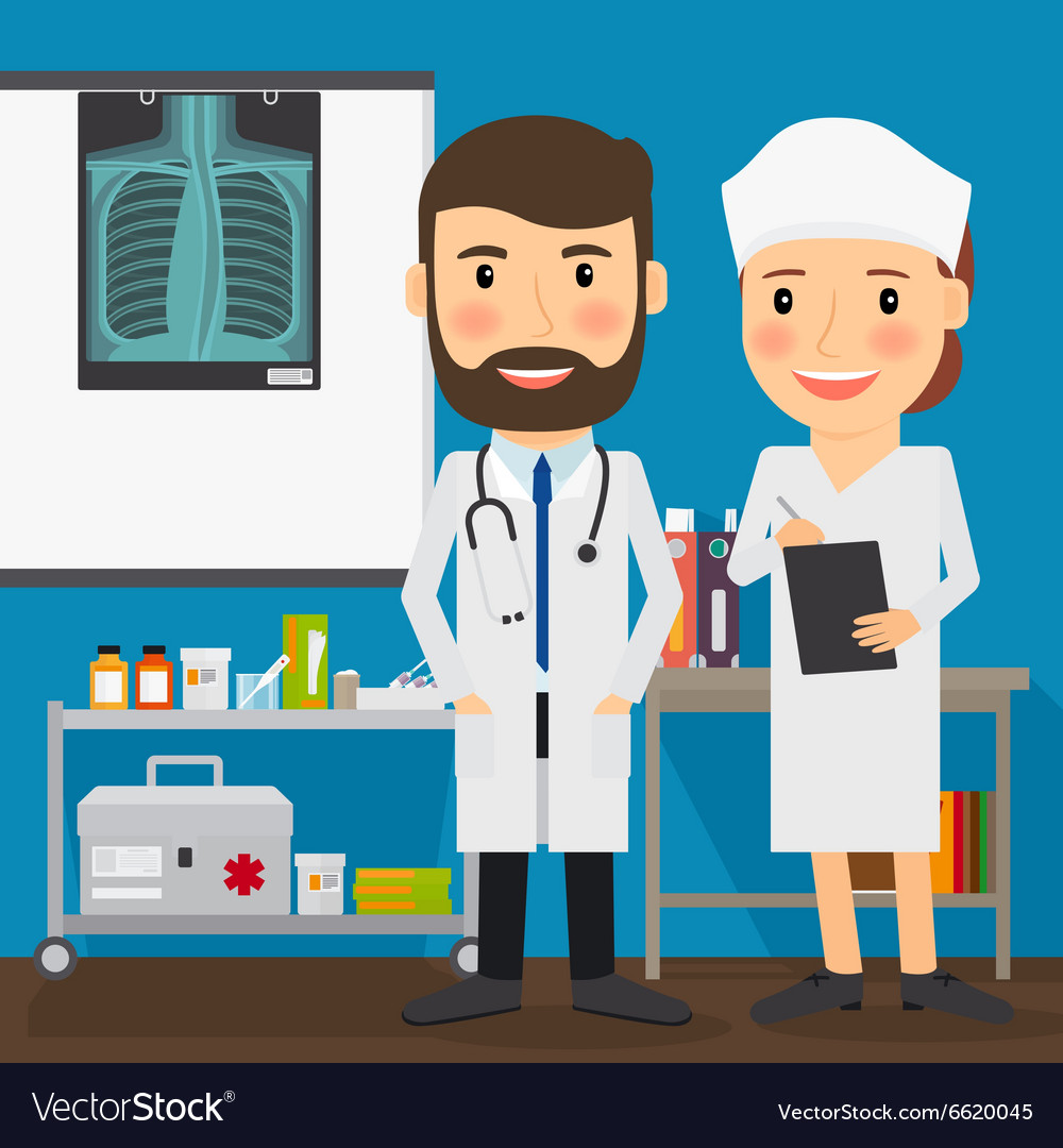 Doctor and nurse medical characters vector