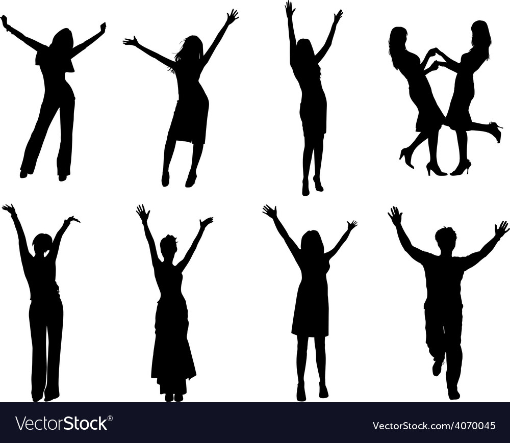 Happy silhouettes vector