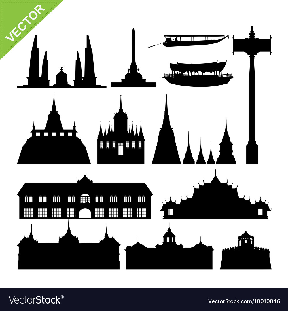 Bangkok symbol and landmark silhouettes set 2 vector