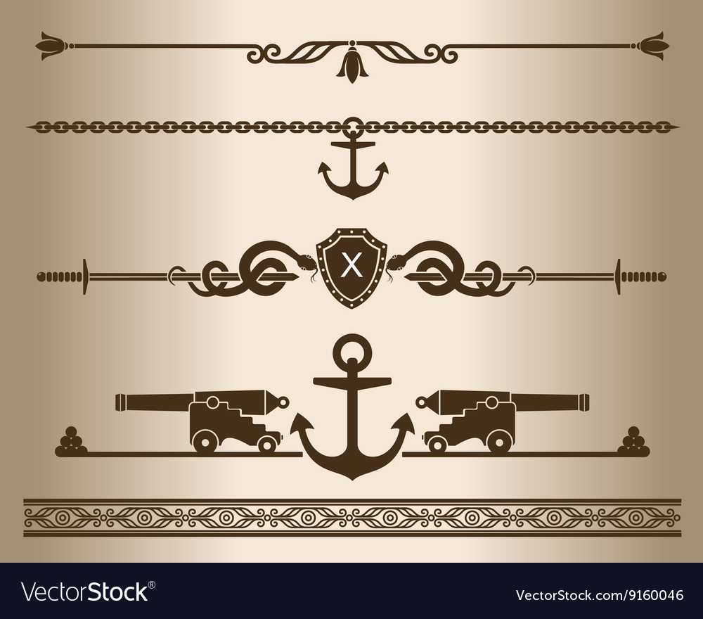 Decorative elements  ship gun vector