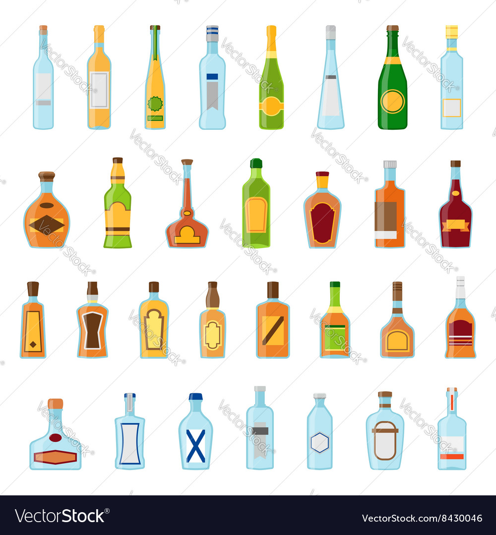 Flat icons set of alcoholic beverages alcohol vector