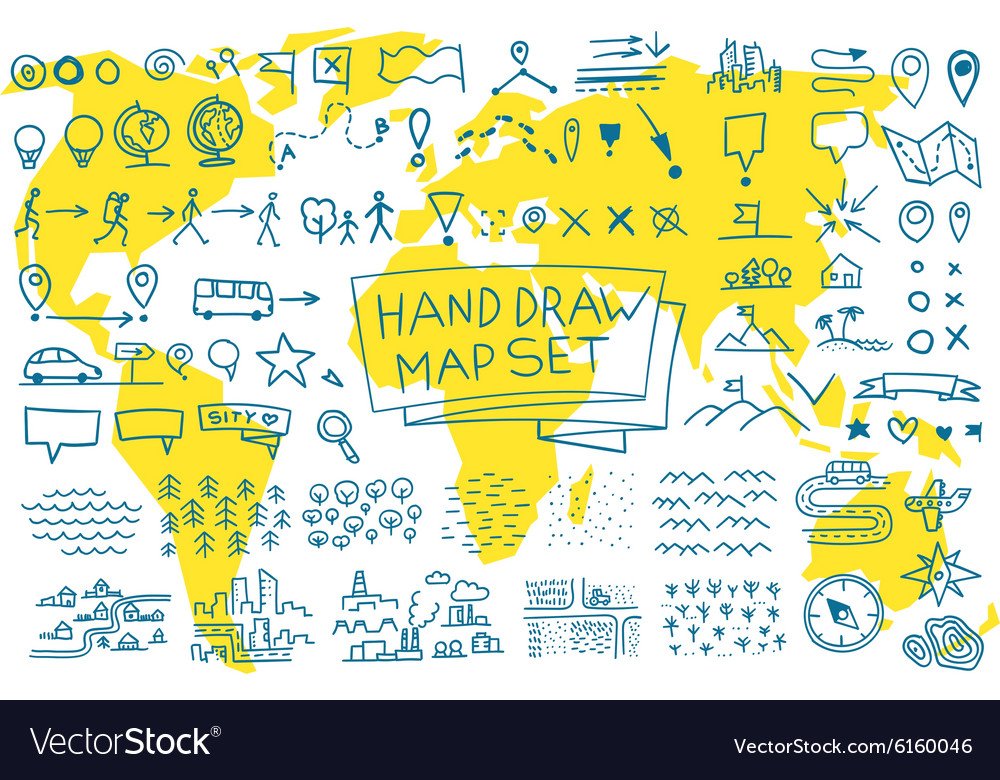 Hand draw map set elements vector