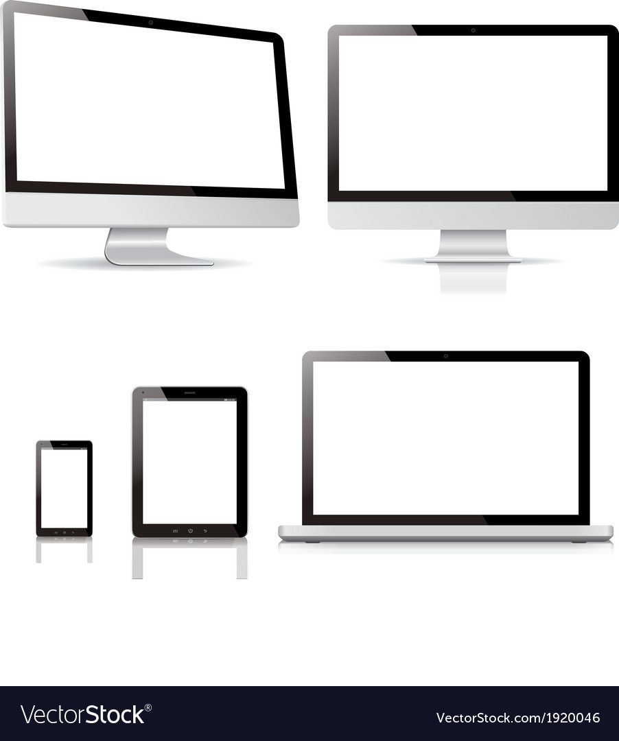 Pack computer tablet electronic devices vector