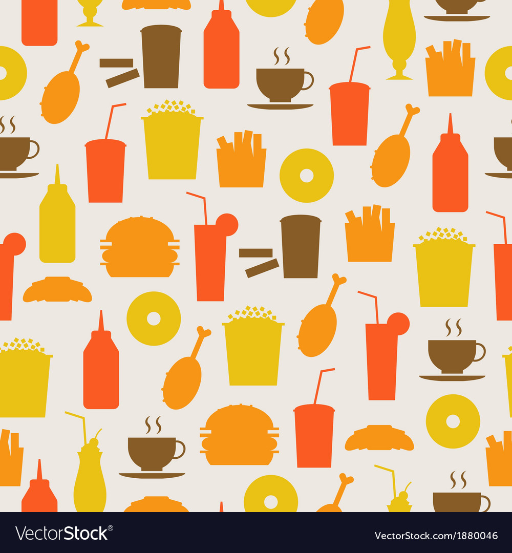 Seamless background with fast food vector