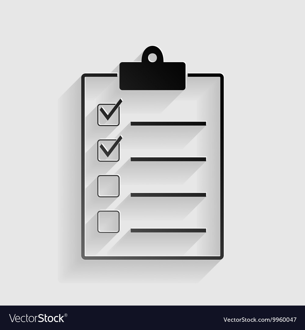 Checklist sign black paper with vector