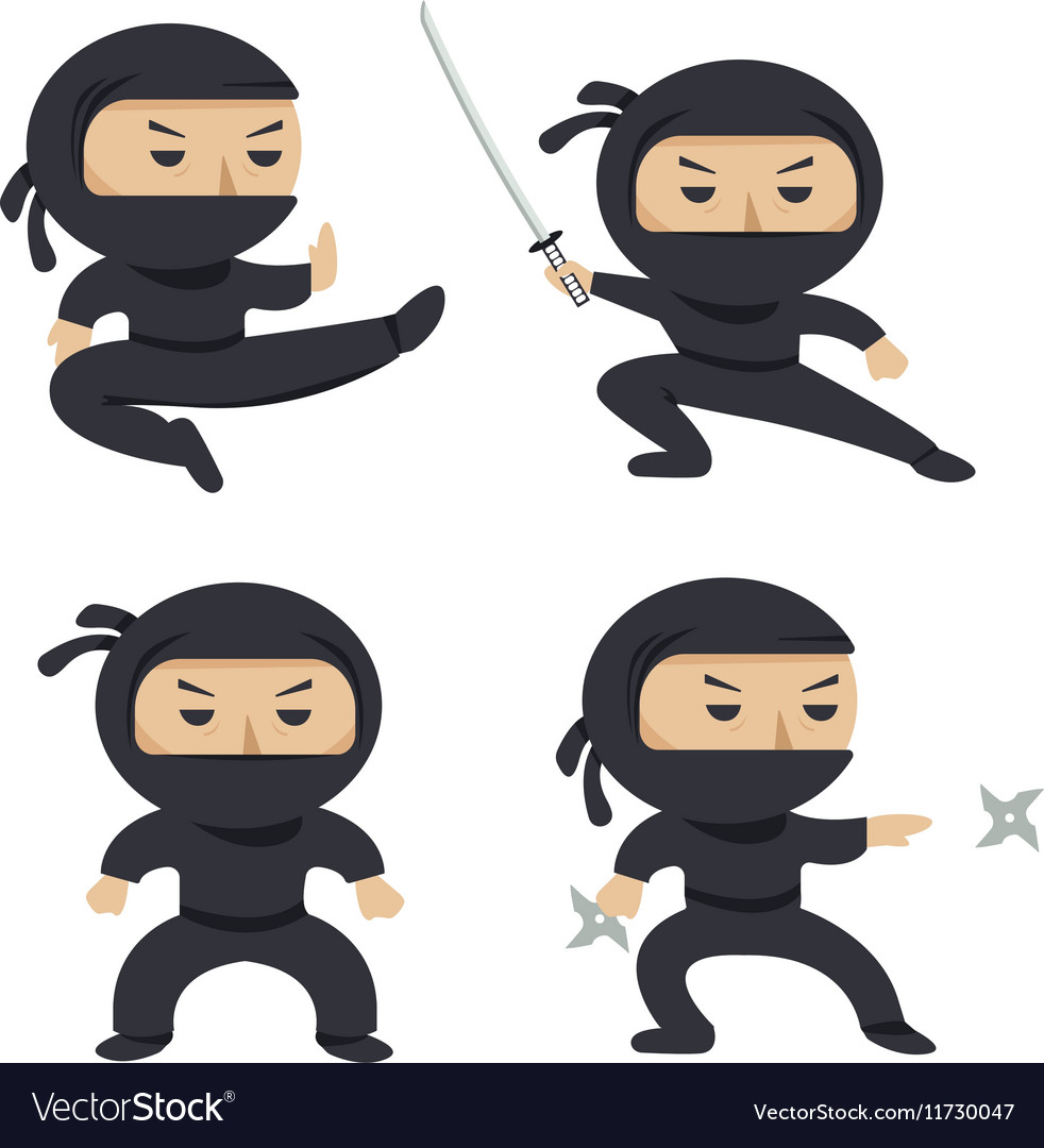 Set of ninja characters showing different actions vector