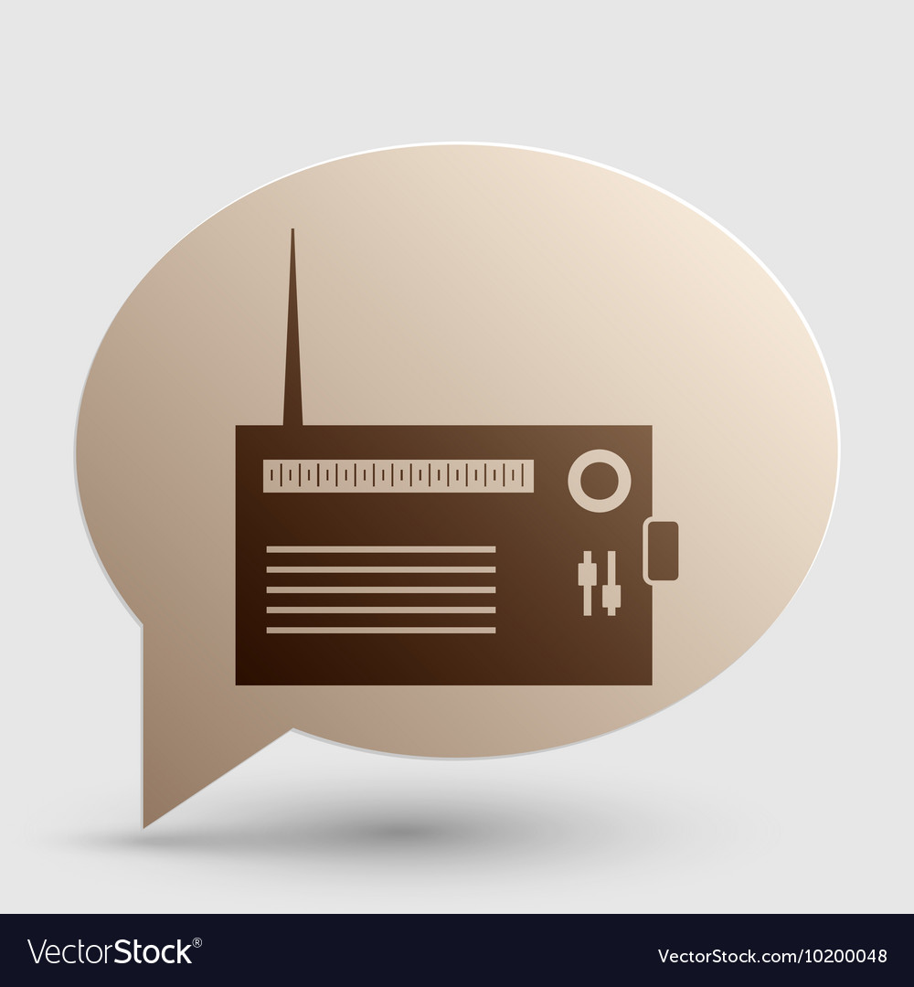 Radio sign brown gradient icon on vector