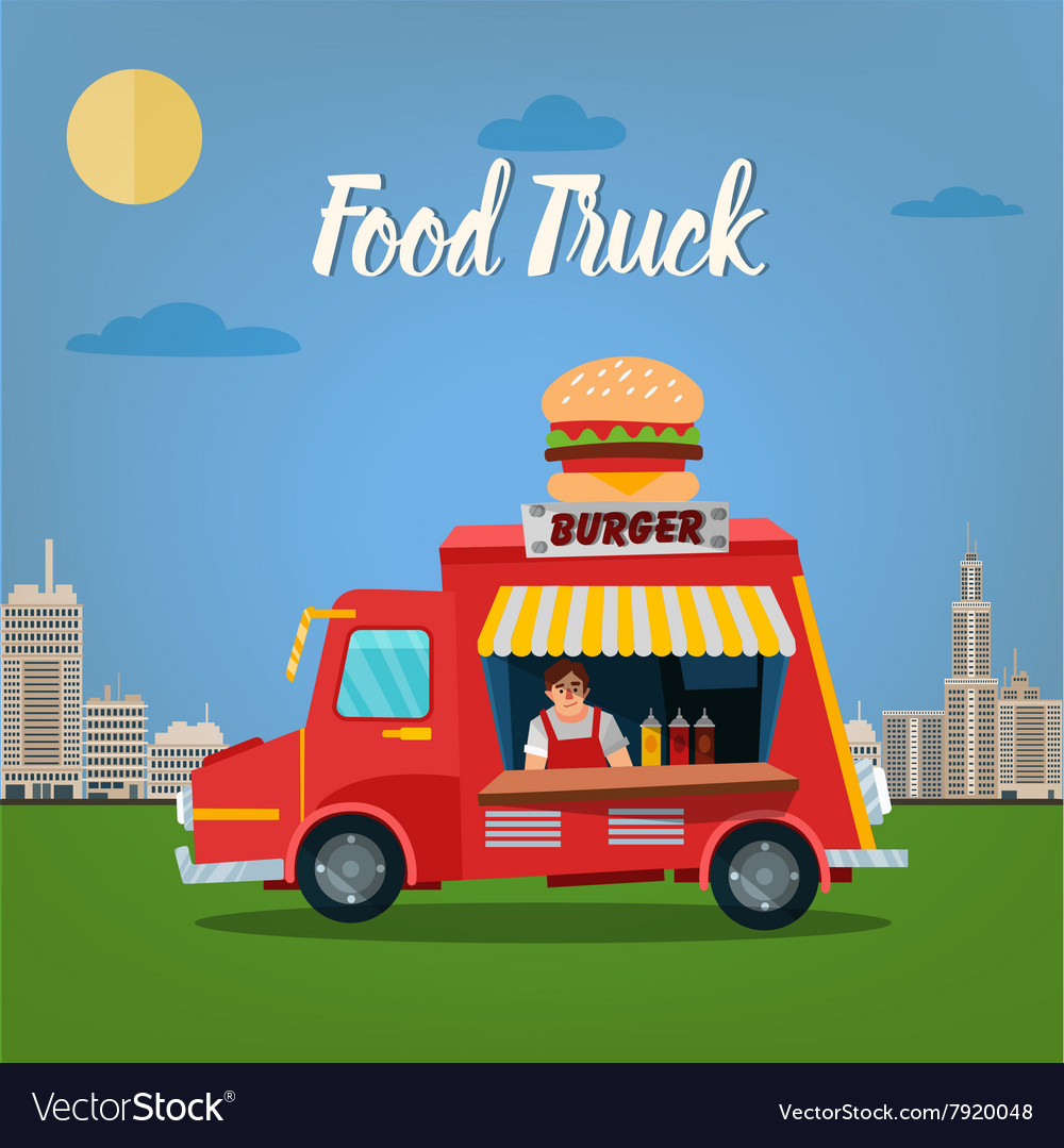 Street food concept with burger food truck vector