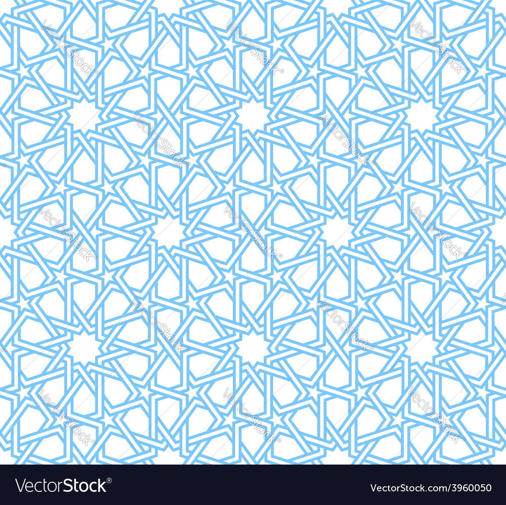 Traditional moorish tangled pattern in blue color vector