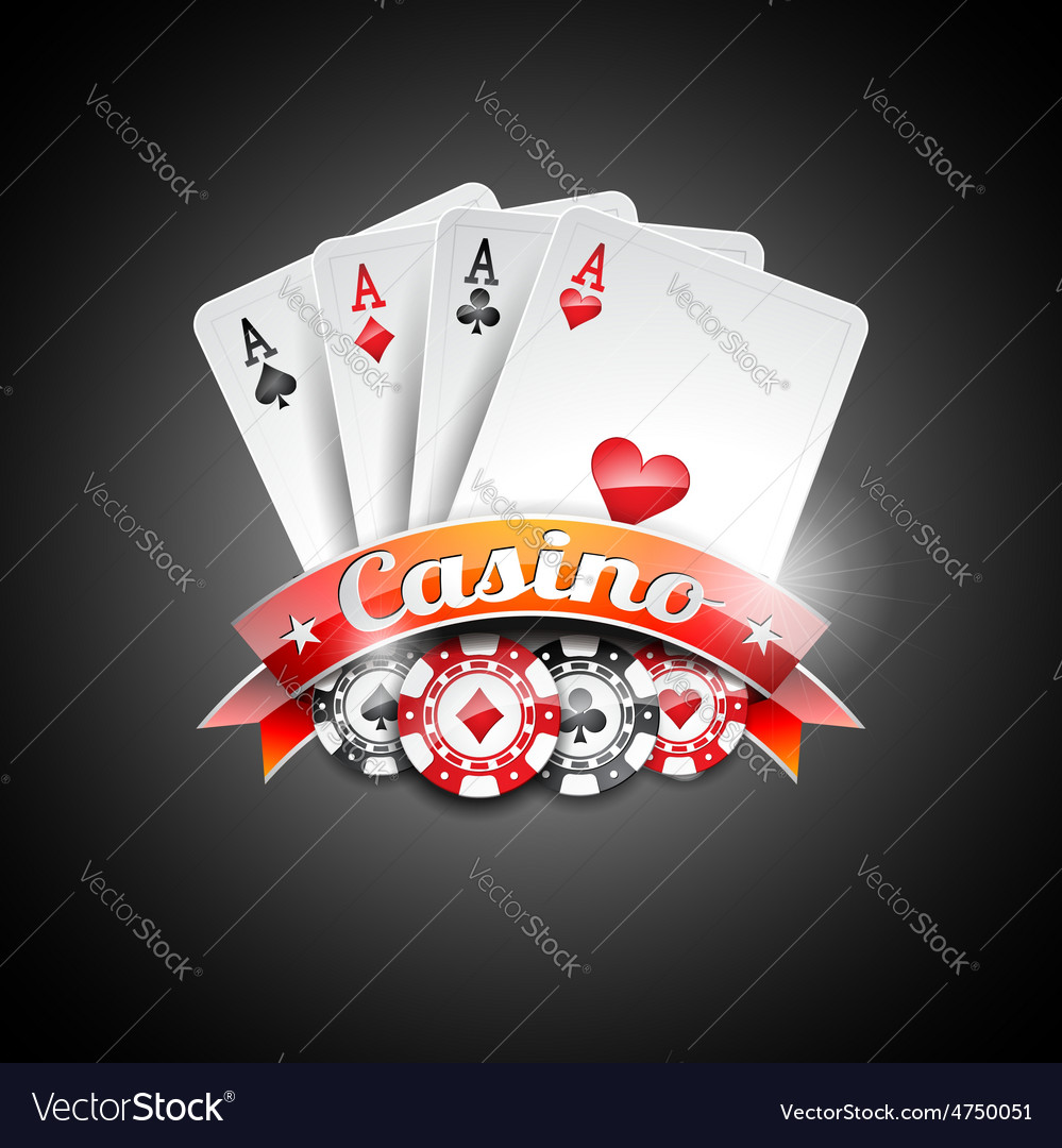Casino with poker symbols and poker c vector