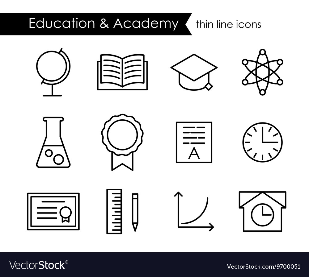 Education and academy thin line outline icons vector