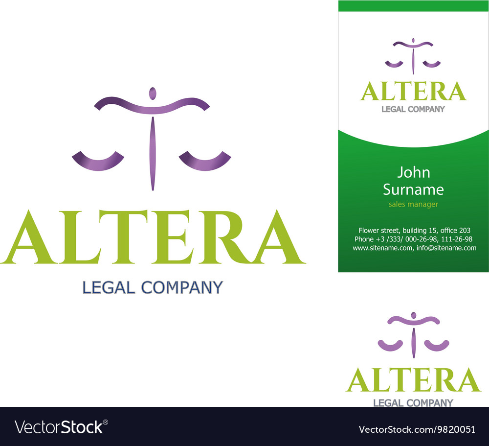 Scales logo and business card vector