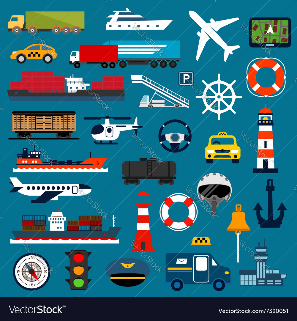 Transportation icons in flat style vector