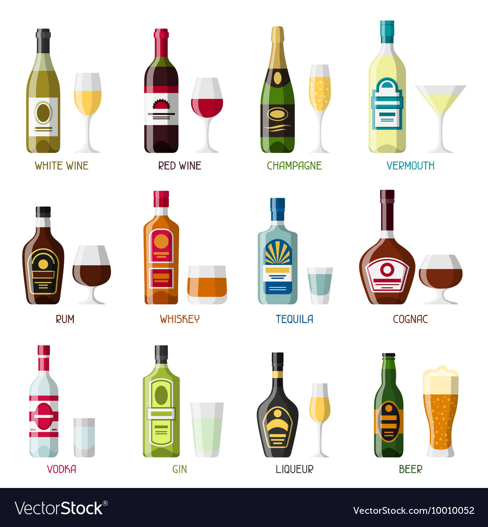 Alcohol drinks icon set bottles glasses for vector