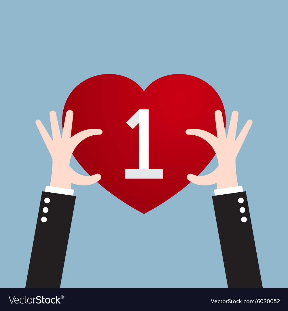 Businessman hand holding heart vector