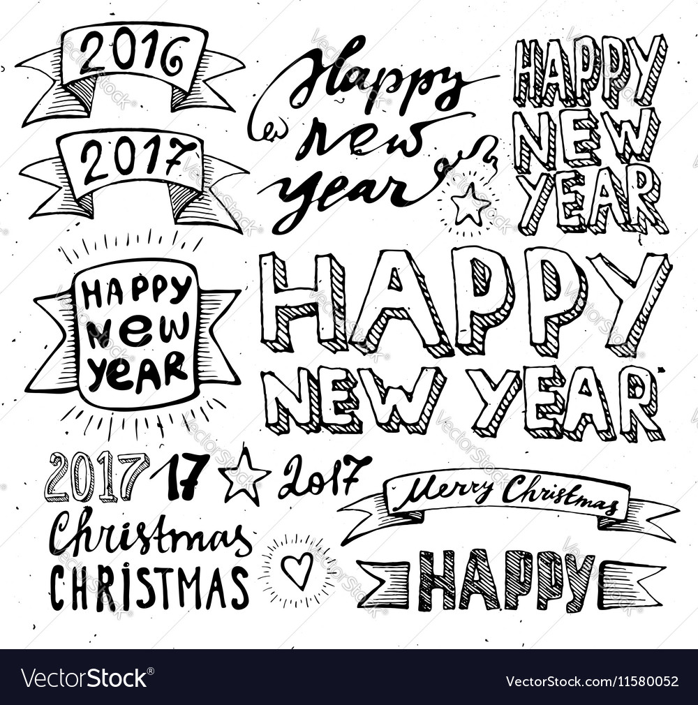 Hand draw set christmas and happy new year vector