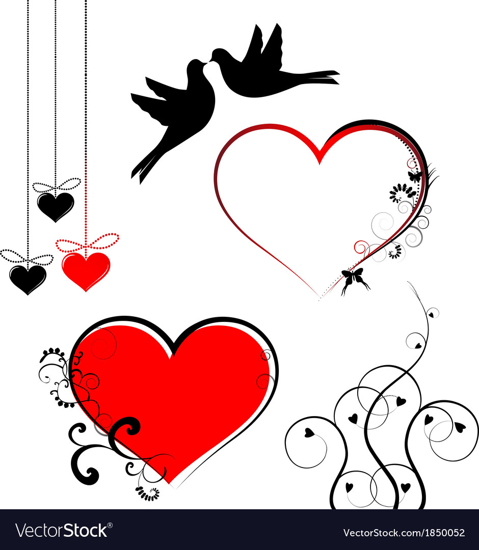 Set of valentines day symbols vector