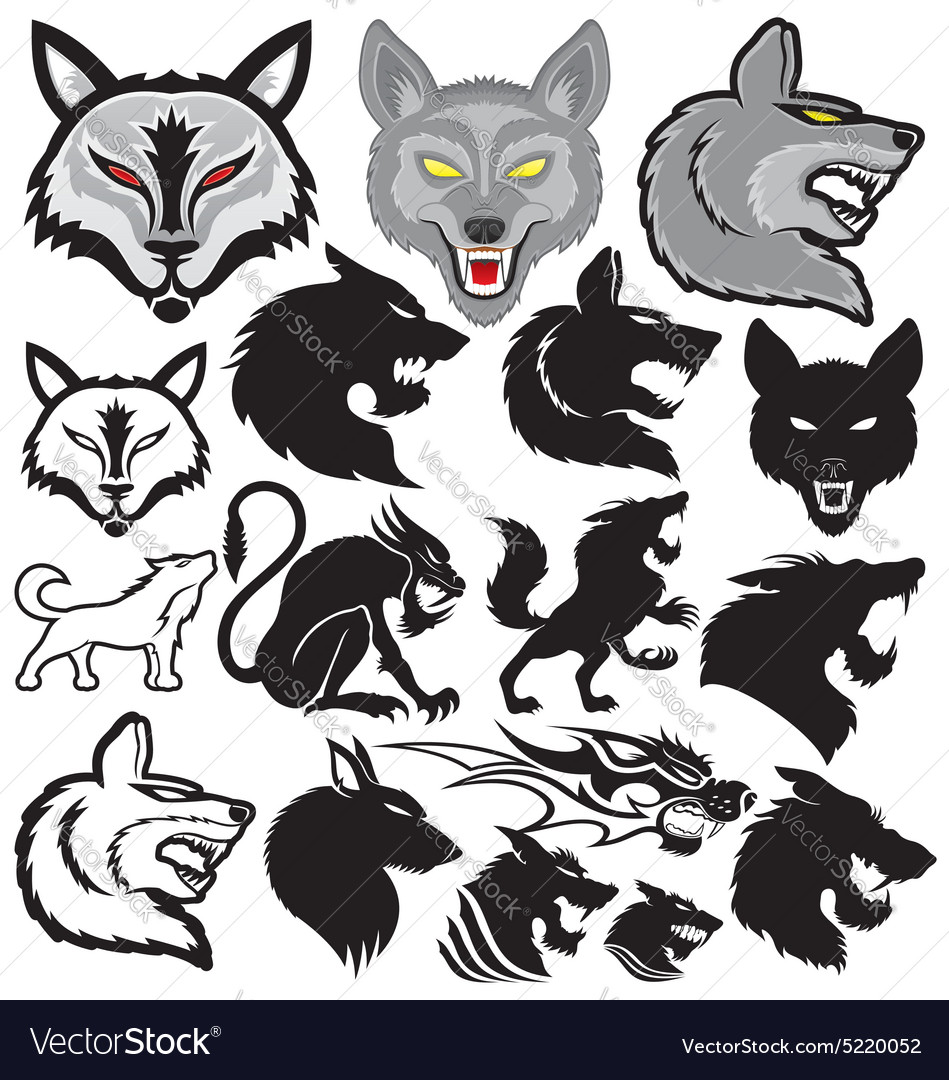Set of wolves vector
