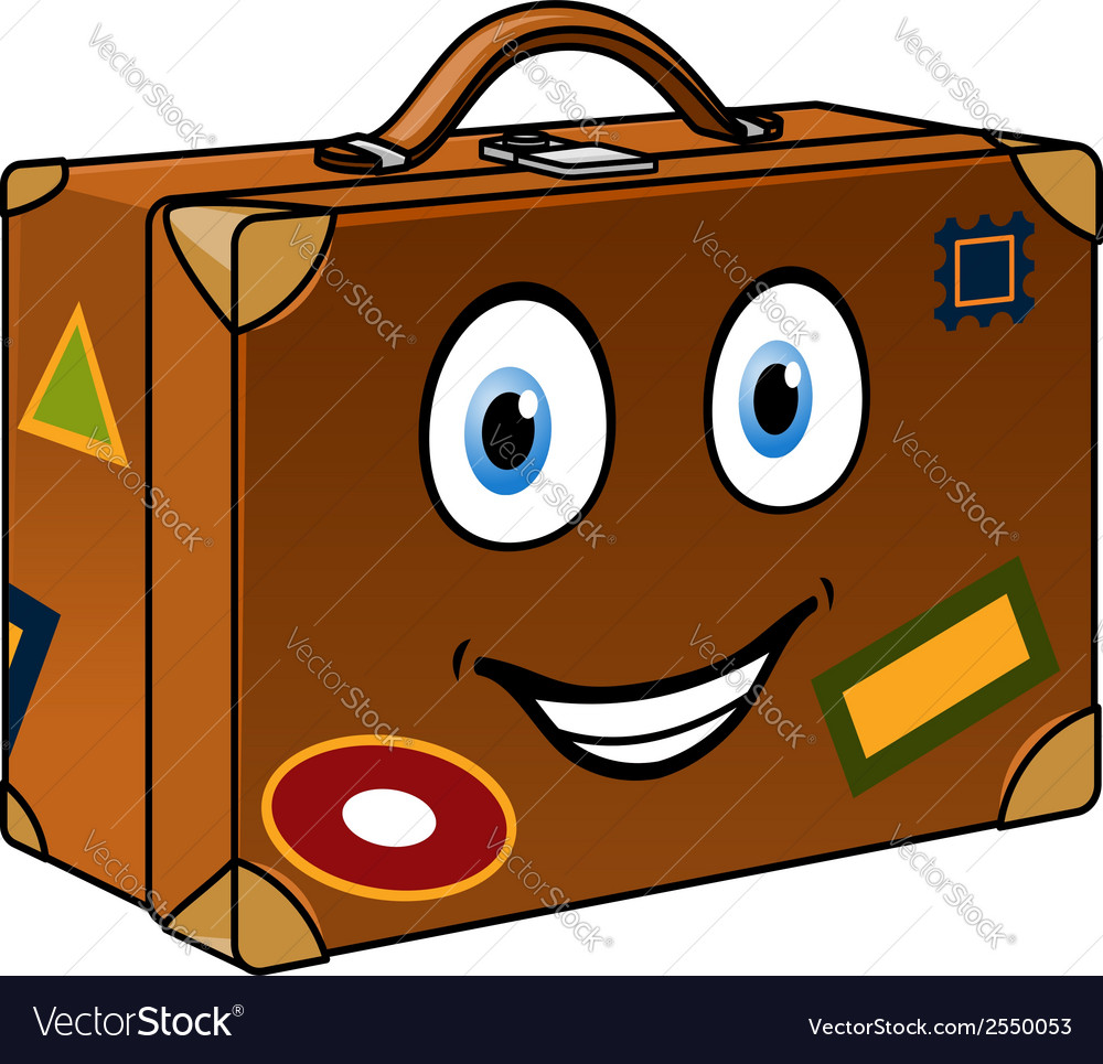 Happy well travelled cartoon suitcase vector