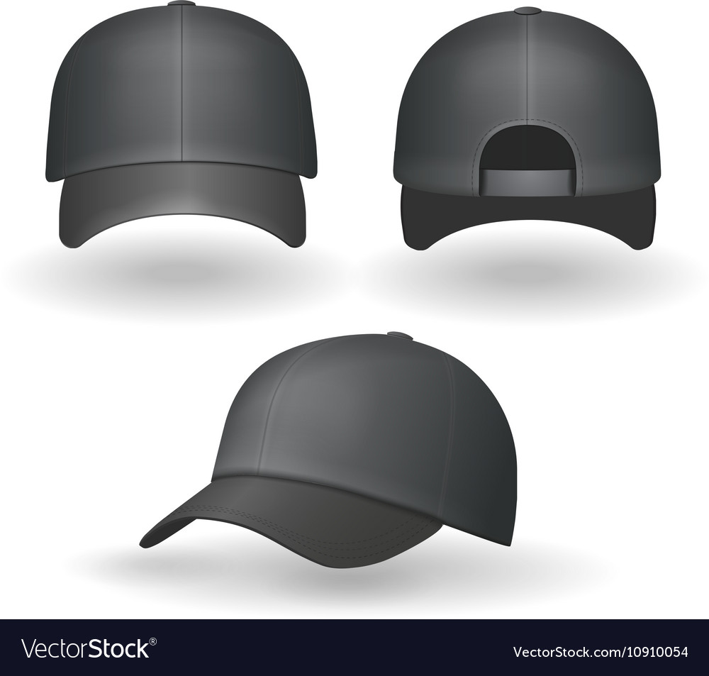 Set of realistic black baseball caps isolated vector