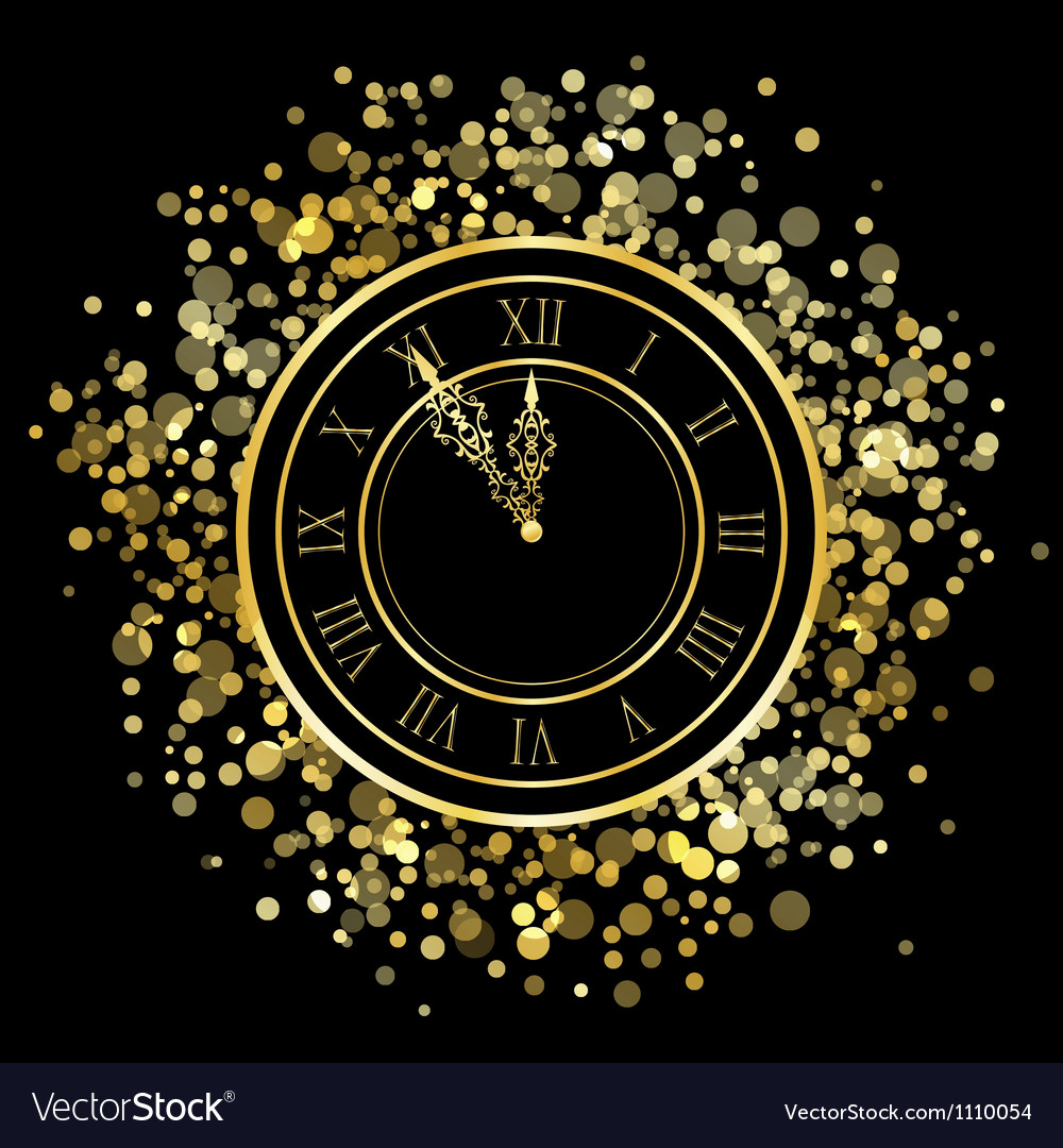 Shiny new year clock vector