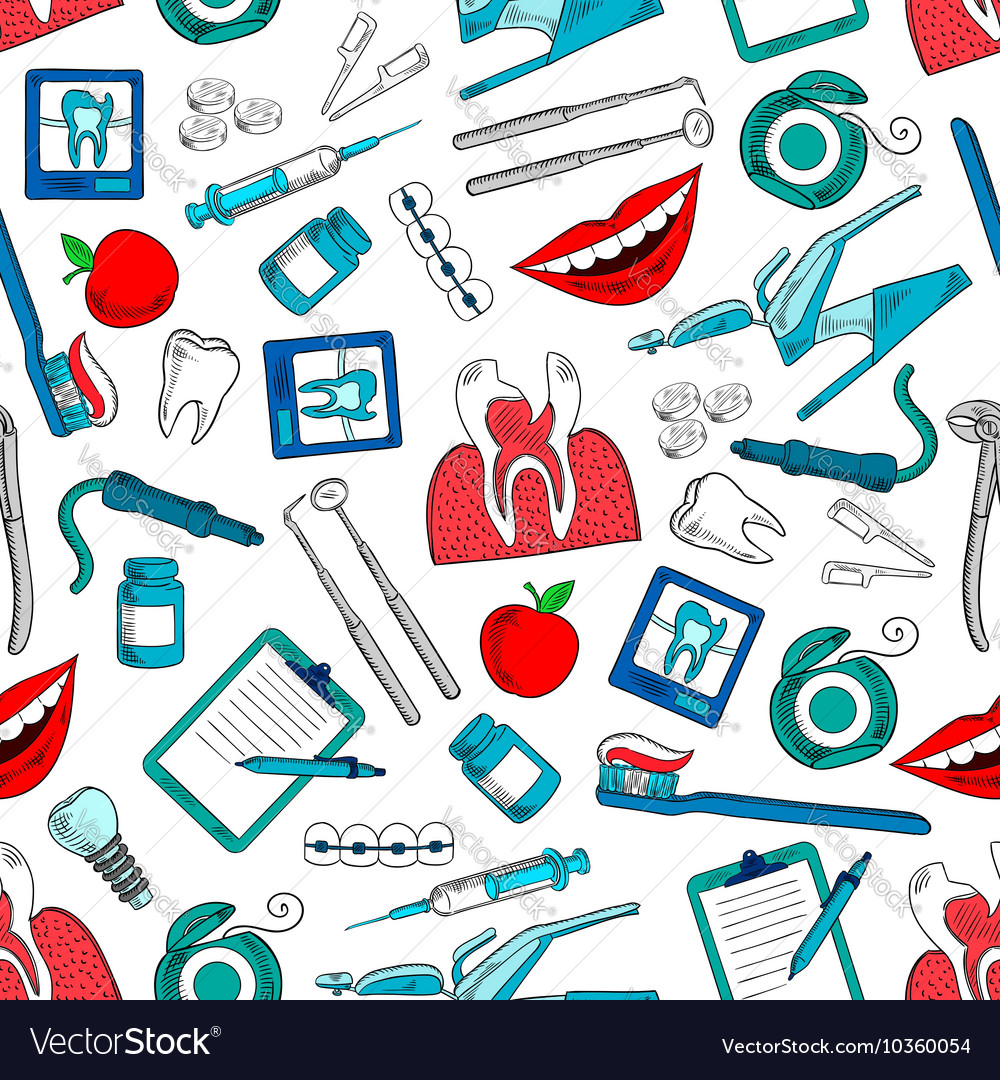 Stomatology and dentistry seamless background vector