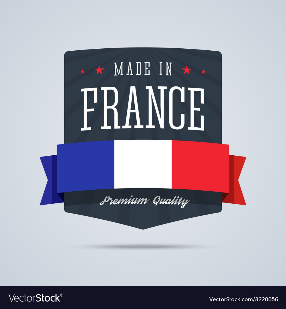 Made in france badge with ribbon and flag vector