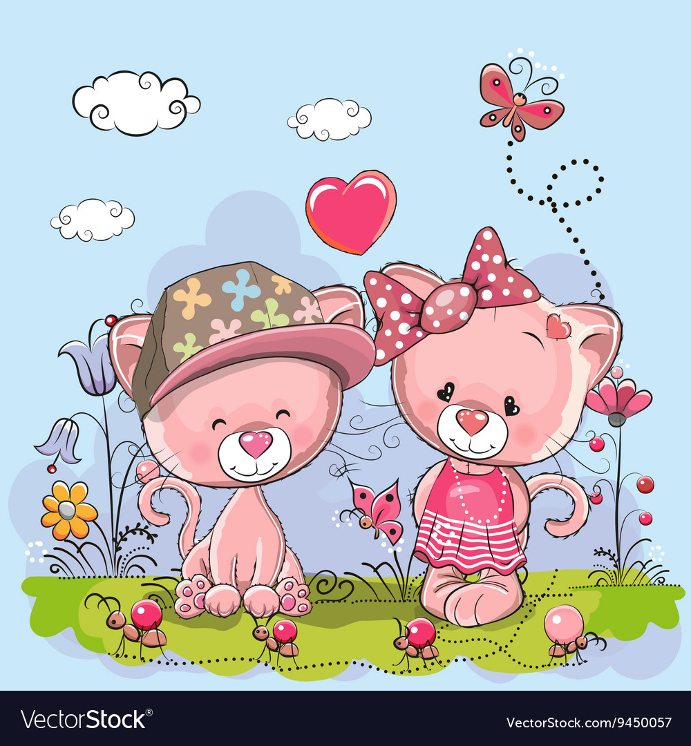 Cute lovers kittens vector