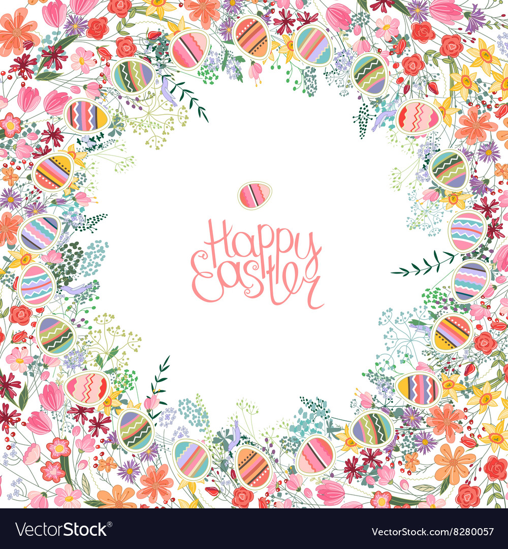 Easter frame with contour flowers and eggs vector