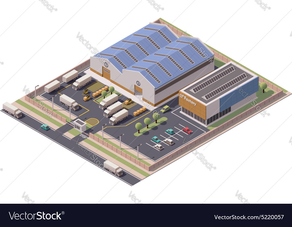Isometric factory buildings icon vector