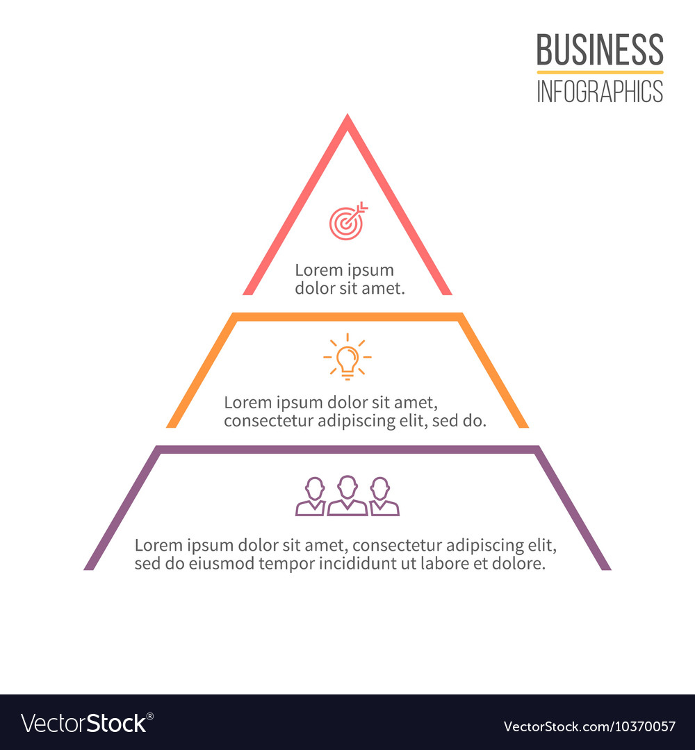 Pyramid triangle with 3 steps levels vector