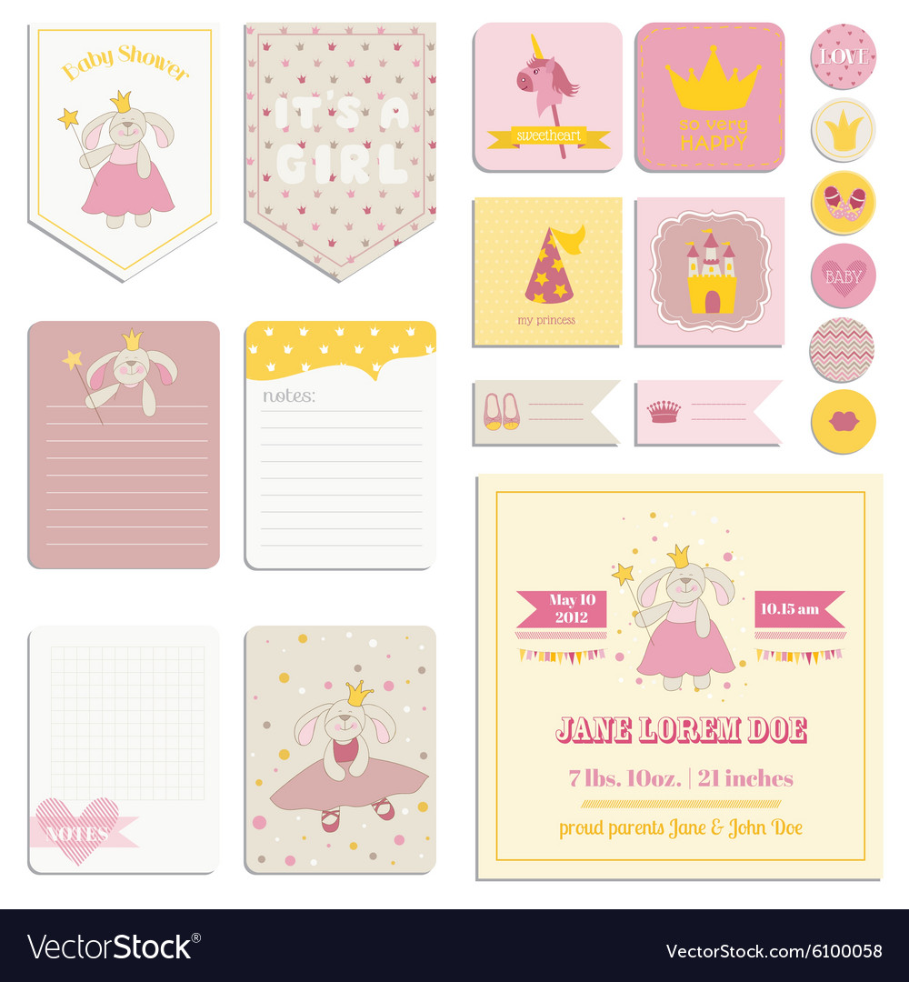 Baby shower girl set  tags banners labels cards vector