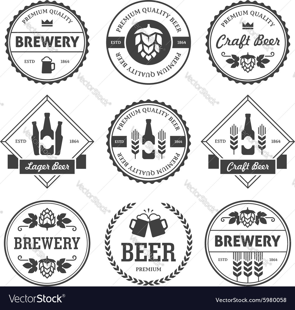 Black beer labels isolated on white vector