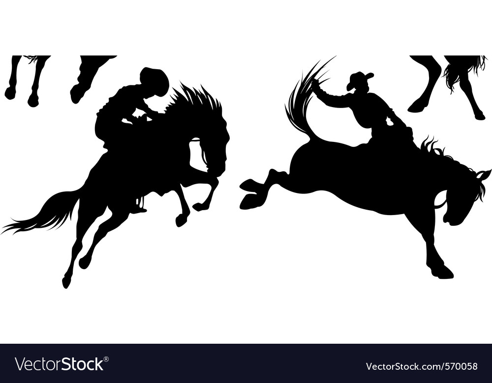 Cowboys on horse silhouettes vector
