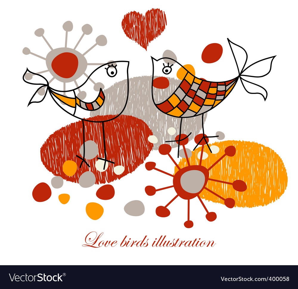 Cute love birds vector