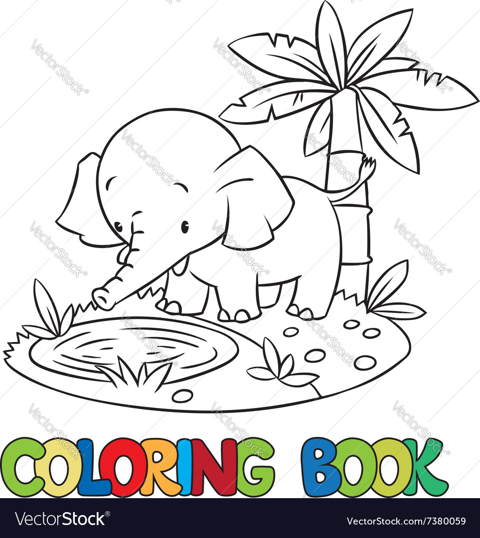 Coloring book of little funny elephant or jumbo vector
