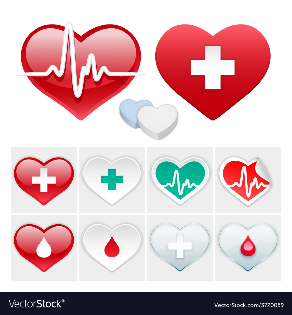 Medical set of hearts icons vector