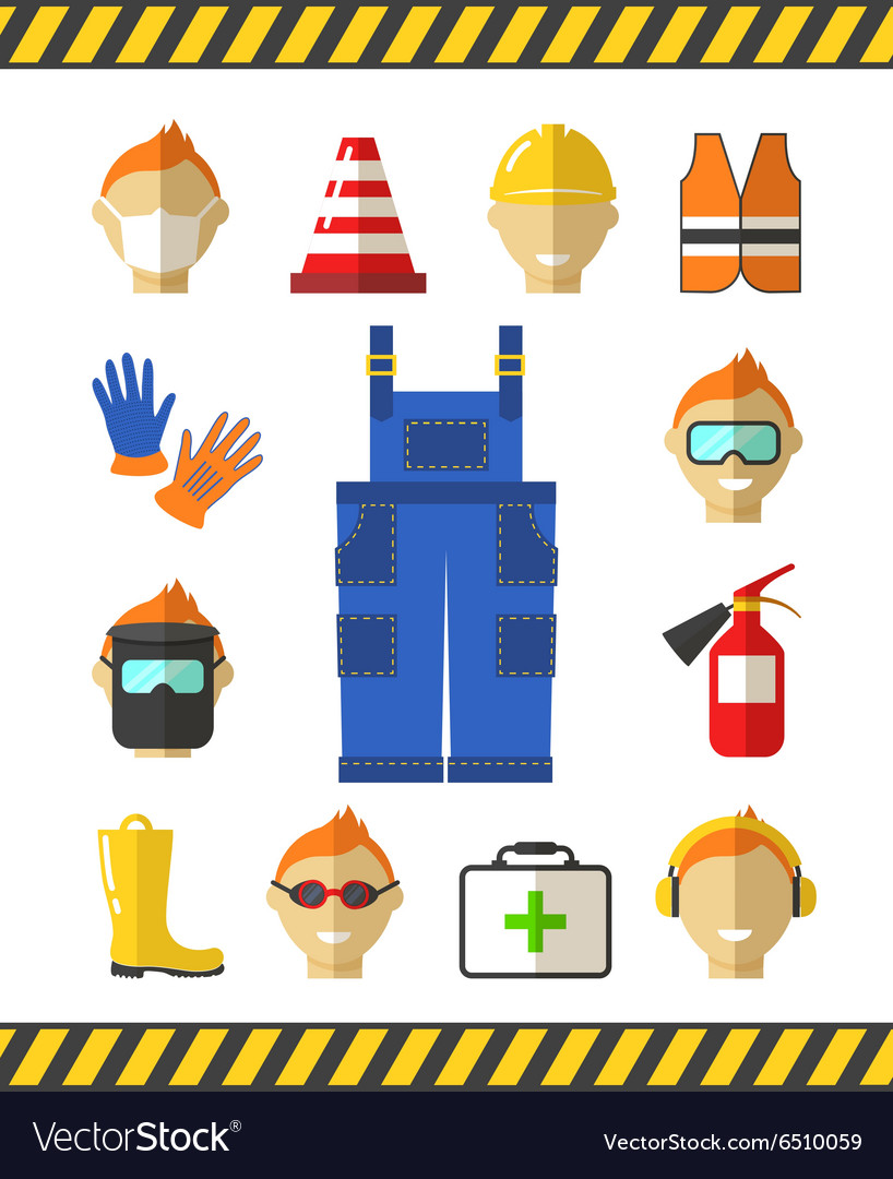 Safety at work job safety flat icons protective vector